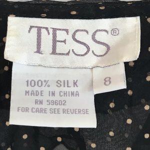 Tess Tops - Tess 100% Silk Polka Dots Blouse sheer ruffles 8